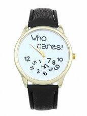 """Baltas odinis laikrodis """"Who cares!"""""""