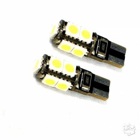 9 LED T10 salono, numerio bei gabaritų apšvietimas, 2 vnt.