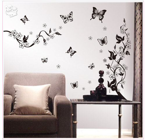 Sienos lipdukas su gėlėmis ir drugeliais